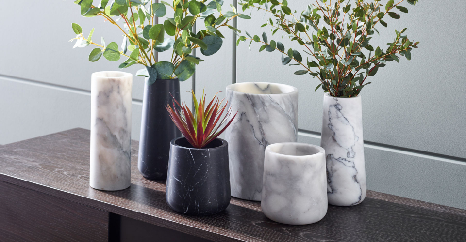 Accessories Assorted Natural Stone Marble Vases In Black & White by Gillmore @ GillmoreSPACE Ltd