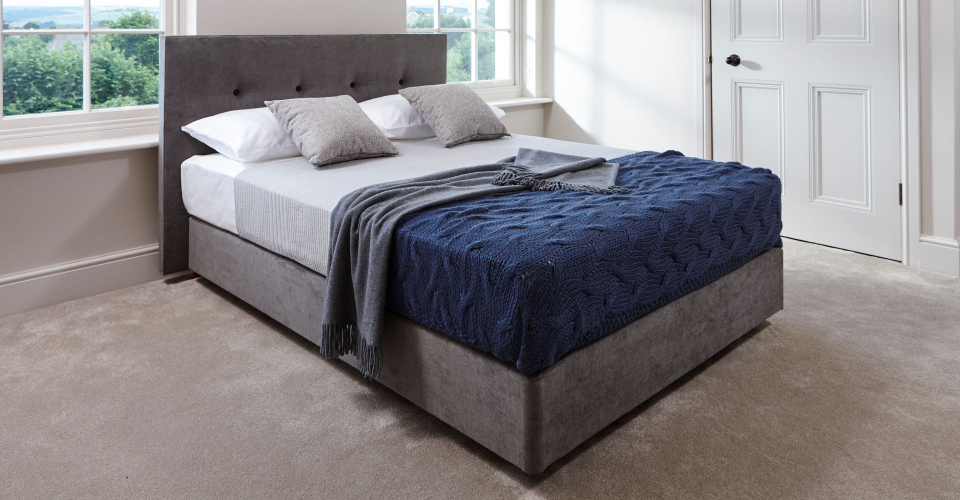 Essentials Graphite Upholstered Divan Bed With Headboard by Gillmore © GillmoreSPACE Ltd