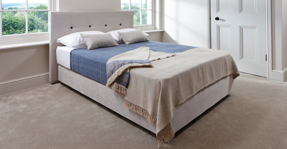 Essentials Stone Upholstered Divan Bed With Headboard by Gillmore © GillmoreSPACE Ltd