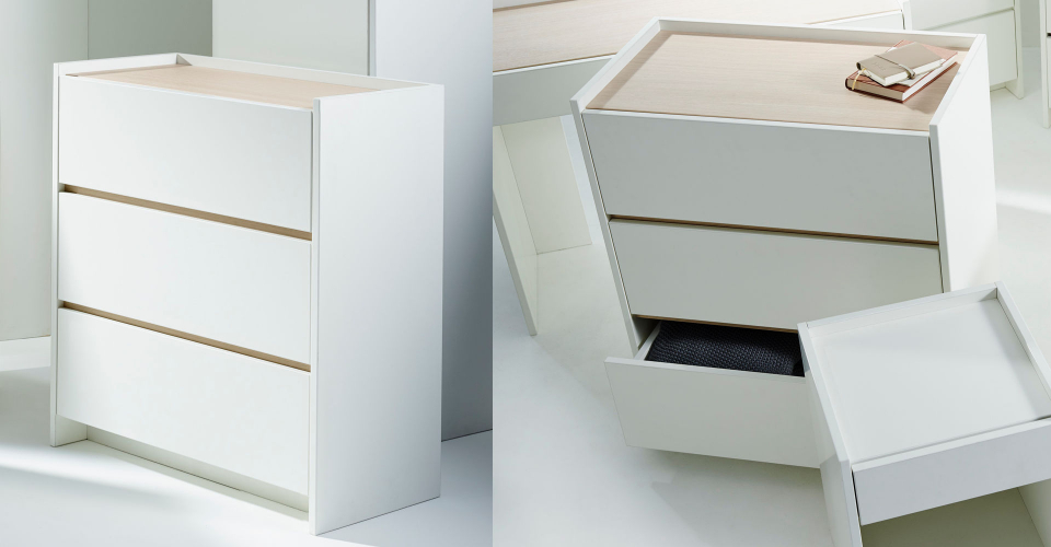 Essentials Oak & White Three Drawer Chest Of Drawers by Gillmore © GillmoreSPACE Ltd