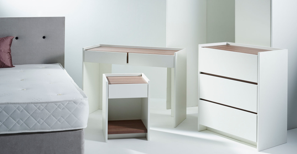 Essentials Walnut & White Bedroom Set ft. Chest of Drawers, Bedside & Dressing Tables © GillmoreSPACE Ltd