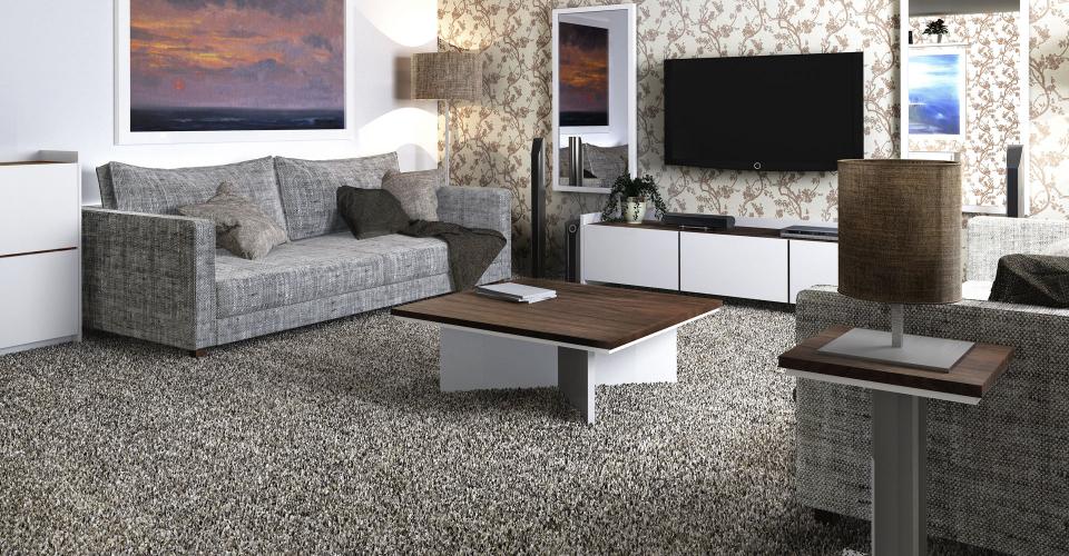 Essentials Walnut & White Living Room Set ft. Low TV & Media Unit, Square Coffee & Side Tables © GillmoreSPACE Ltd