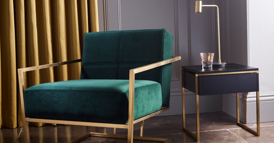 Federico Brushed Brass And Green Upholstery Armchair by Gillmore © GillmoreSPACE Ltd