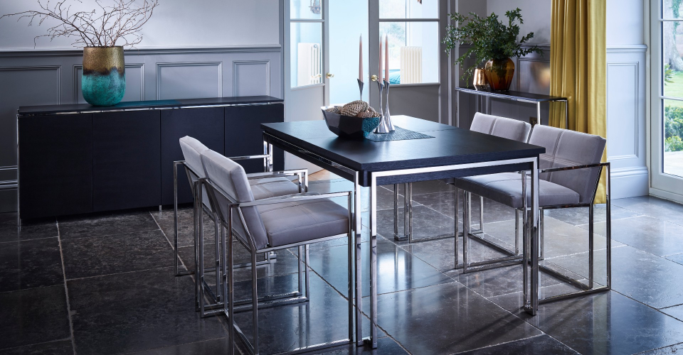 Federico Dining Table And Chrome Dining Chairs by Gillmore © GillmoreSPACE Ltd