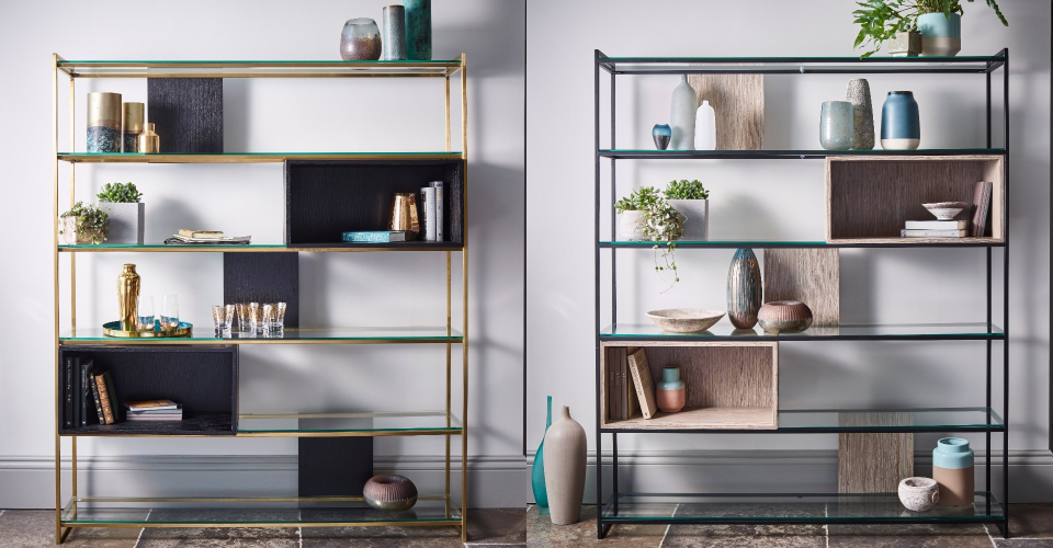 Federico Brass And Black Shelving by Gillmore © GillmoreSPACE Ltd
