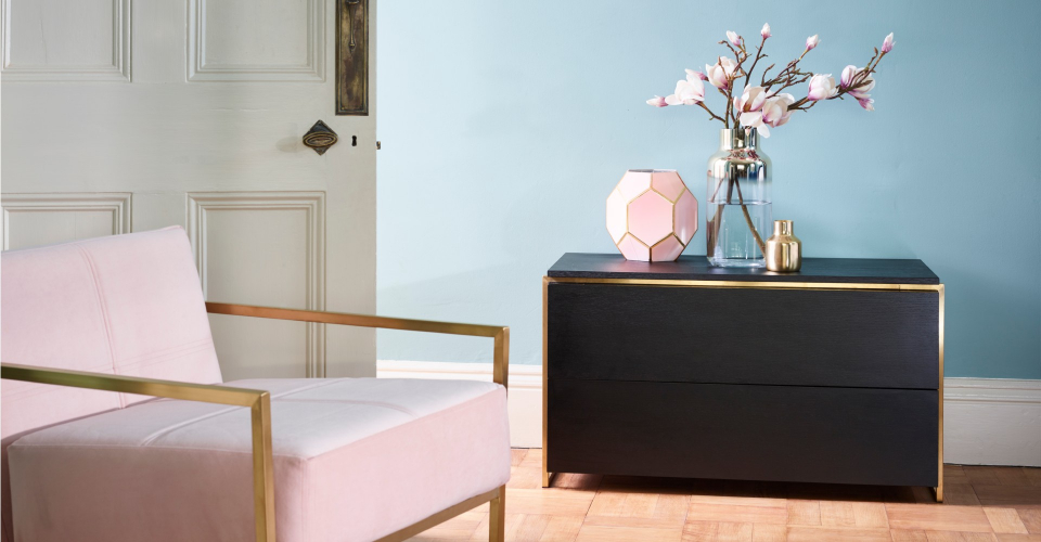 Federico Blush Pink And Brass Armchair by Gillmore © GillmoreSPACE Ltd
