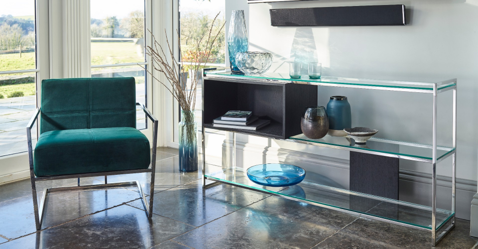 Federico Green Upholstery And Chrome Armchair by Gillmore © GillmoreSPACE Ltd