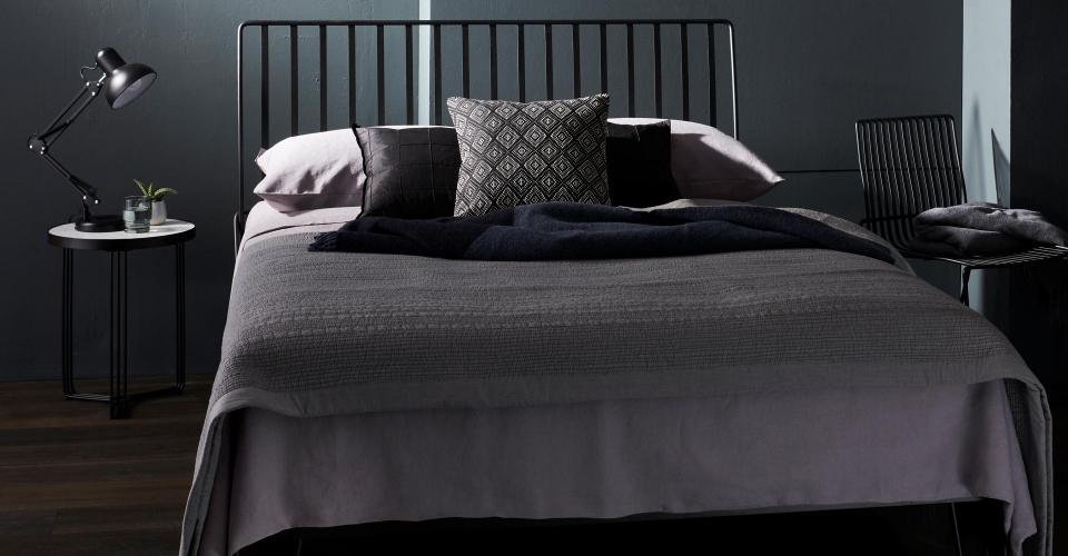 Finn Double Bed In Matt Black With Side Table © GillmoreSPACE Ltd