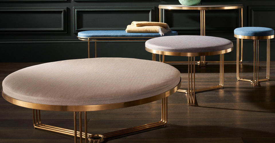 Finn Brass Tables With Assorted Upholstered Tops by Gillmore © GillmoreSPACE Ltd