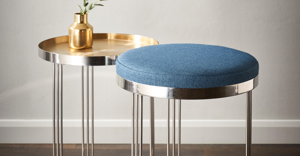 Finn Polished Chrome Side Tables With Brass Tray & Blue Upholstered Tops © GillmoreSPACE Ltd