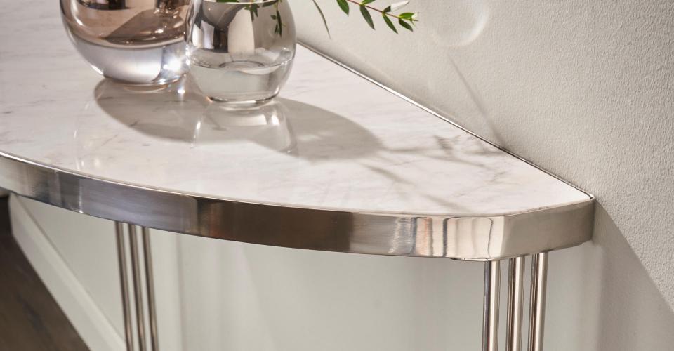 Finn White Marble & Polished Chrome Demi Lune Console Table Detail © GillmoreSPACE Ltd