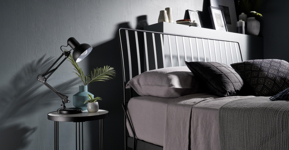 Finn Black Bed Headboard Detail & Side Table by Gillmore © GillmoreSPACE Ltd