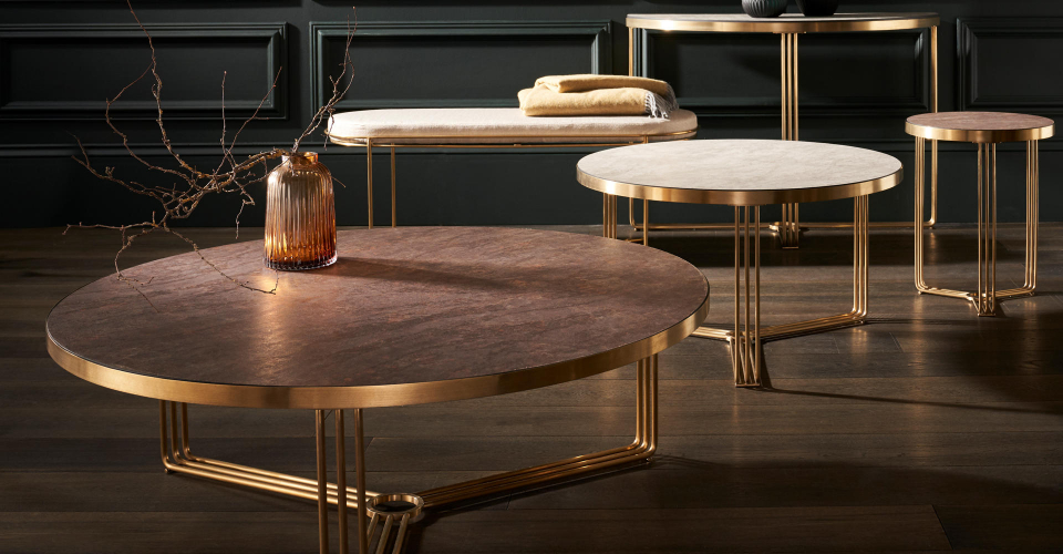 Finn Assorted Tables With Brushed Brass (Satin Look) Frames © GillmoreSPACE Ltd
