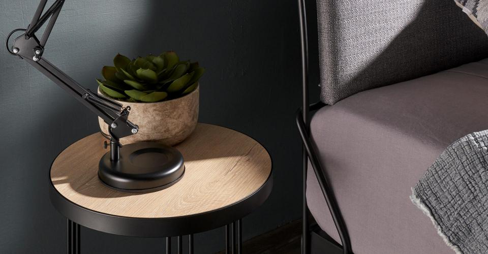 Finn Bedside Table With Black Frame & Light Wood (Reversible Dark Wood) Laminate Top Detail © GillmoreSPACE Ltd