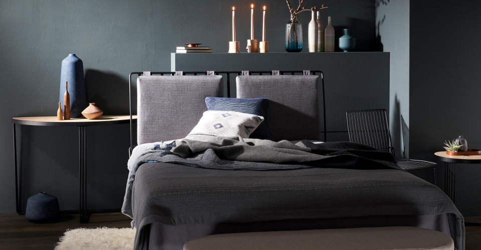 Finn Double Upholstered Bed With Light Wood Laminate Top Tables & Black Frames © GillmoreSPACE Ltd