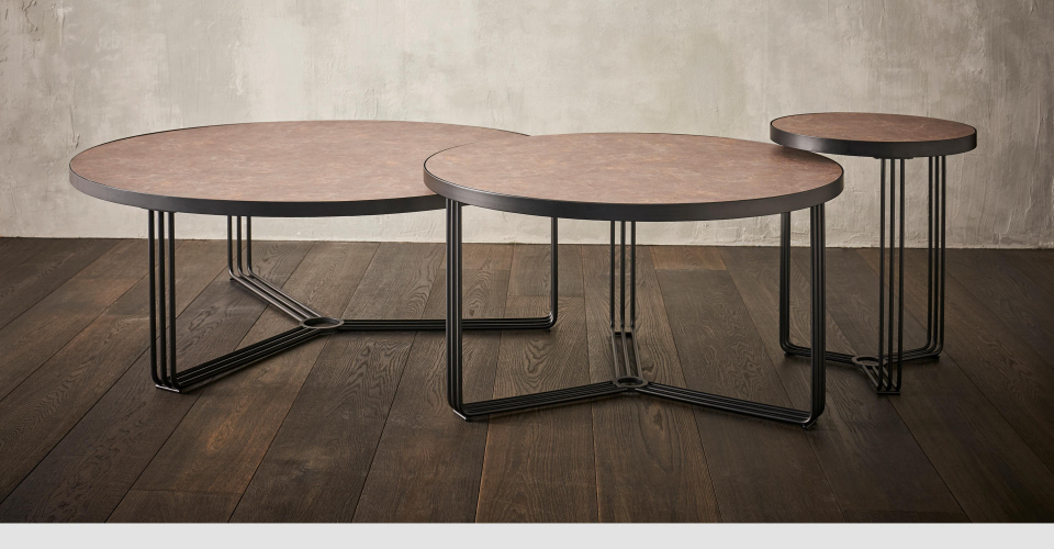 Finn Nested Coffee & Side Tables With Black Frames & Dark Wood Laminate Tops © GillmoreSPACE Ltd