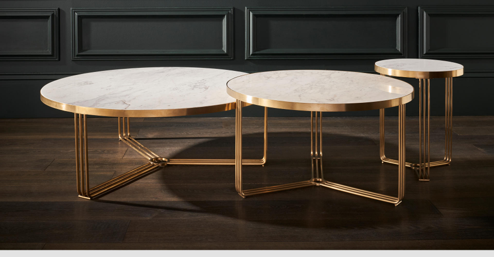 Finn Nested Coffee & Side Tables With Brushed Brass Frames & White Marble Tops © GillmoreSPACE Ltd