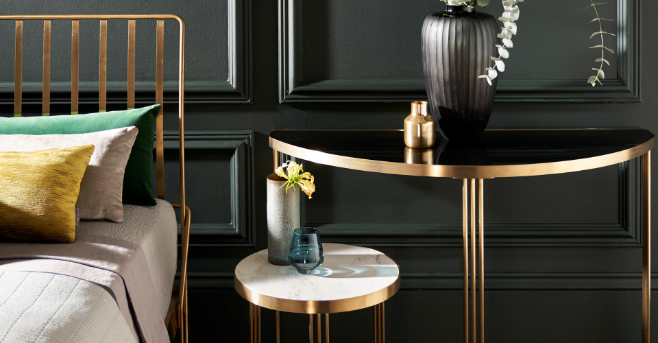 Finn Brass Bed, Side Table & Demi Lune Console Table by Gillmore © GillmoreSPACE Ltd