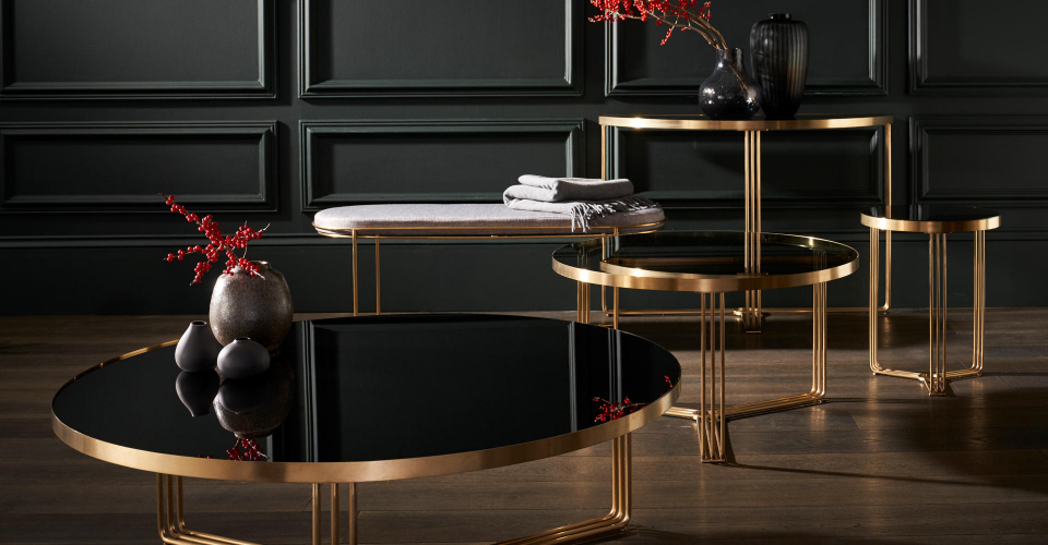 Finn Black Glass & Brass Base Tables & Upholstered Ottoman © GillmoreSPACE Ltd