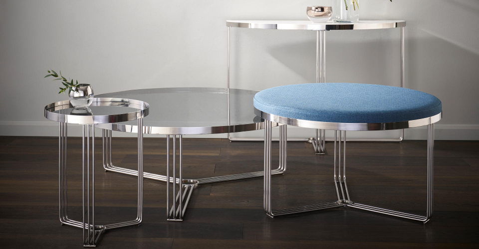 Finn Tables With Polished Chrome Bases by Gillmore © GillmoreSPACE Ltd