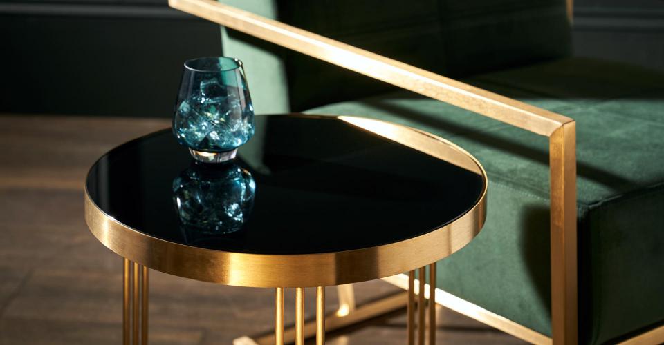 Finn Side Table With Black Glass & Brushed Brass Frame Detail © GillmoreSPACE Ltd