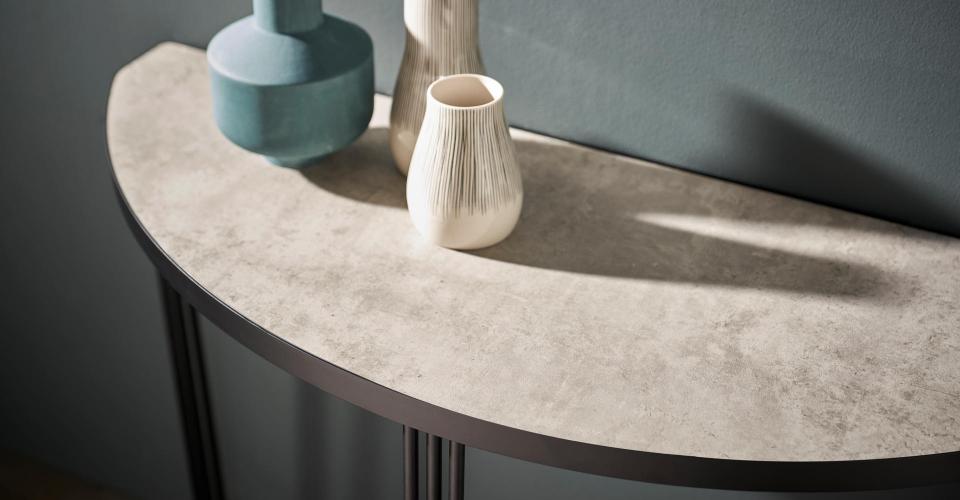 Finn Demi Lune Console Table Light Stone Laminate Top & Black Frame © GillmoreSPACE Ltd