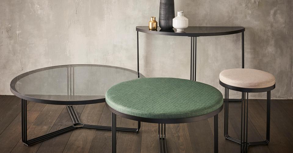 Finn Tables With Matt Black Frames & Assorted Tops © GillmoreSPACE Ltd