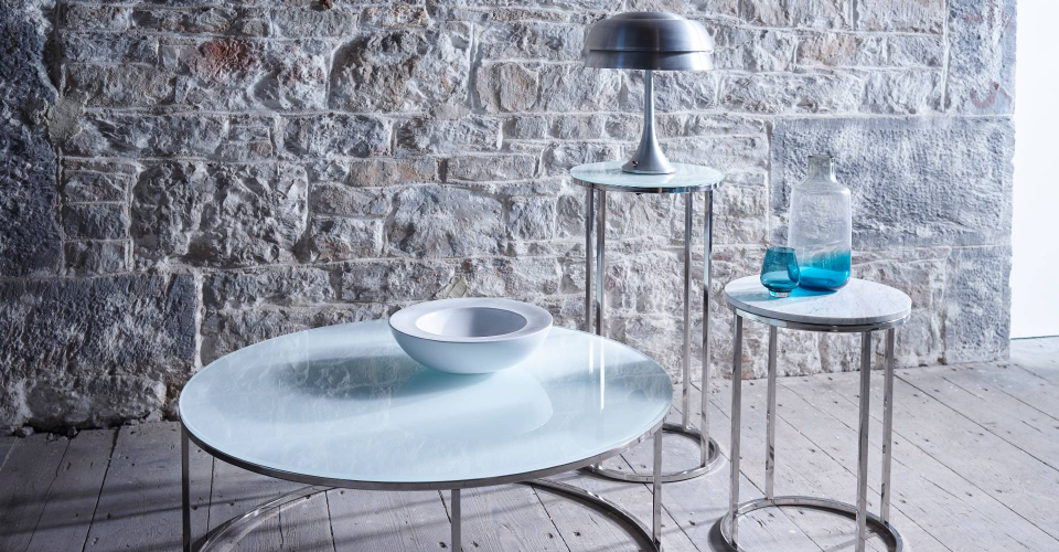 Kensal Round Tables White Glass With Chrome Base by Gillmore © GillmoreSPACE Ltd