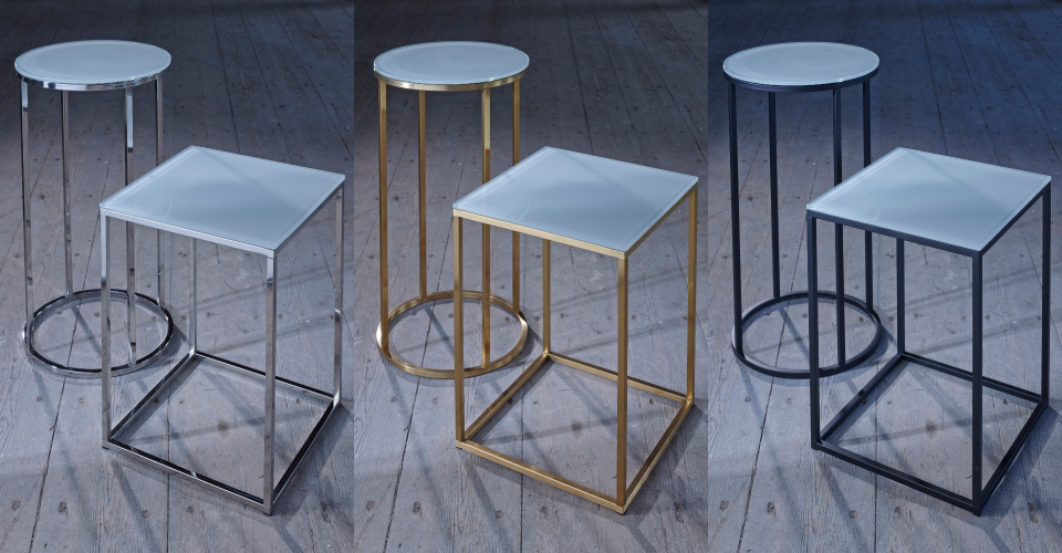 Kensal Square Side Table & Circular Lamp Stand White Glass Set by Gillmore © GillmoreSPACE Ltd