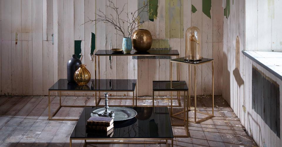 Kensal Square Tables - Black Glass & Brass Base © GillmoreSPACE Ltd