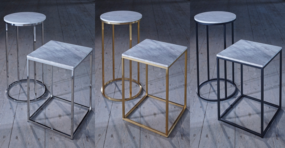 Kensal Square Side Table & Circular Lamp Stand White Marble Set by Gillmore © GillmoreSPACE Ltd
