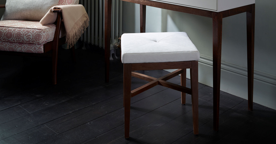 Lux Off-White Upholstered Square Stool On Walnut Base by Gillmore © GillmoreSPACE Ltd