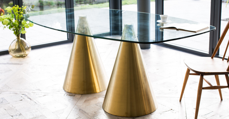 Oscar Large Clear Glass Dining Table Double Brass Pedestal © GillmoreSPACE Ltd
