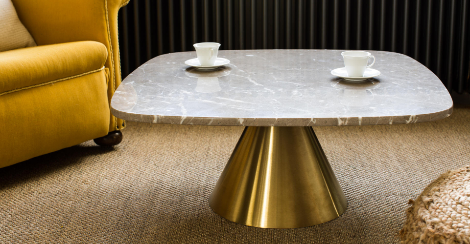 Oscar White Marble & Brushed Brass Pedestal Square Coffee Table © GillmoreSPACE Ltd