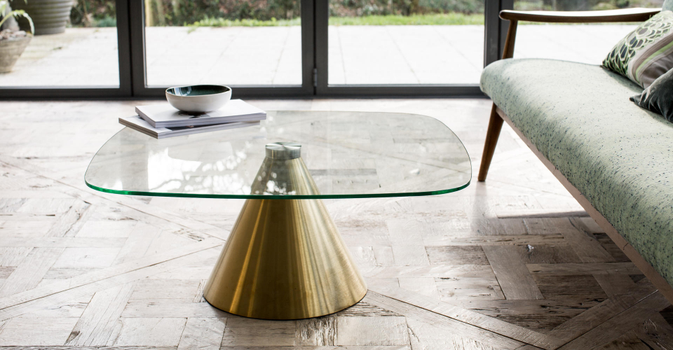 Oscar Clear Glass & Brushed Brass Pedestal Square Coffee Table © GillmoreSPACE Ltd