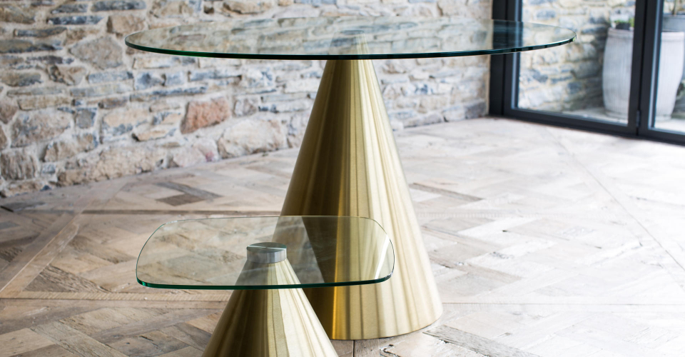 Oscar Clear Glass Dining Table & Side Table With Brass Pedestals © GillmoreSPACE Ltd