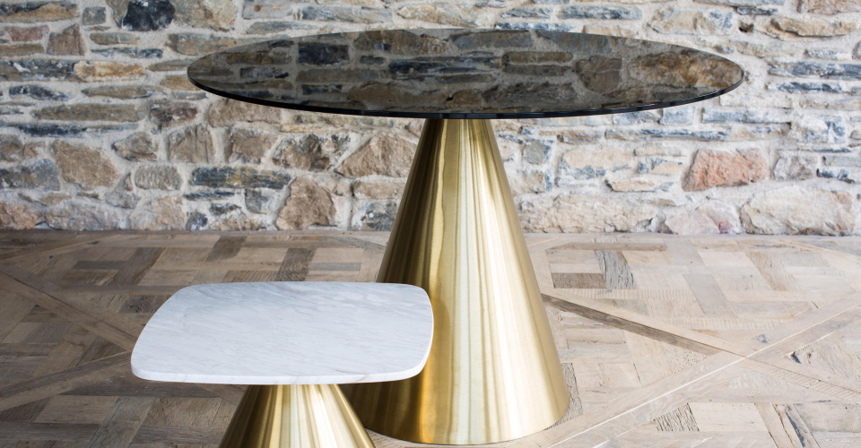 Oscar Black Glass Round Dining Table & Square White Marble Side Table With Brass Pedestals © GillmoreSPACE Ltd